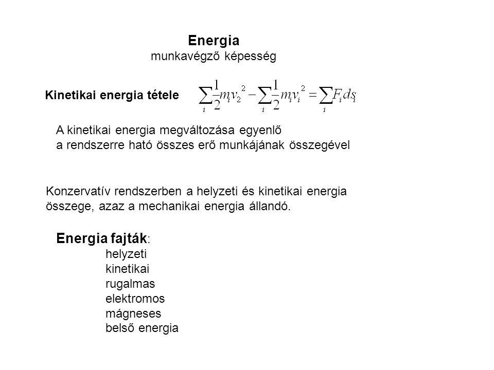 Energia munkavégző képesség Kinetikai energia tétele A kinetikai energia megváltozása egyenlő a rendszerre ható összes erő munkájának összegével Konze
