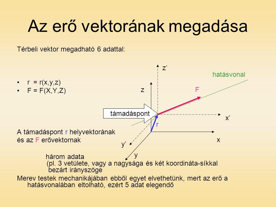 Az erő vektorának megadása Térbeli vektor megadható 6 adattal: r = r(x,y,z) F = F(X,Y,Z) A támadáspont r helyvektorának és az F erővektornak három adata (pl.