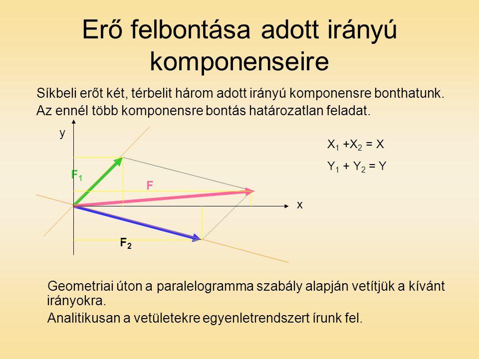 Erő felbontása adott irányú komponenseire Síkbeli erőt két, térbelit három adott irányú komponensre bonthatunk.