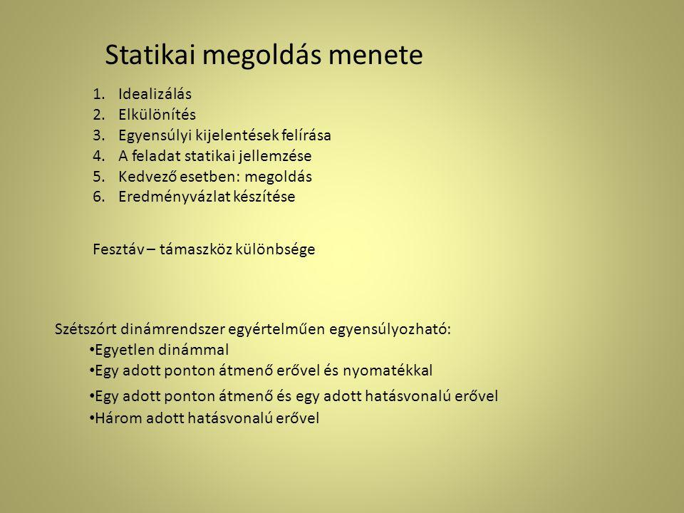 Statikai megoldás menete 1.Idealizálás 2.Elkülönítés 3.Egyensúlyi kijelentések felírása 4.A feladat statikai jellemzése 5.Kedvező esetben: megoldás 6.