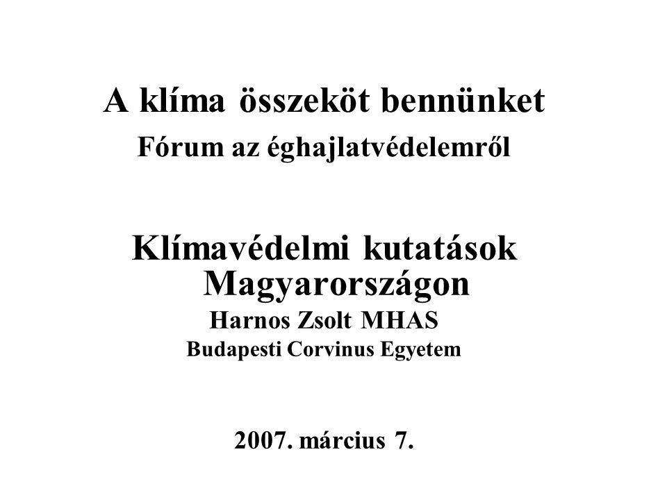 A klíma összeköt bennünket Fórum az éghajlatvédelemről Klímavédelmi kutatások Magyarországon Harnos Zsolt MHAS Budapesti Corvinus Egyetem 2007. márciu