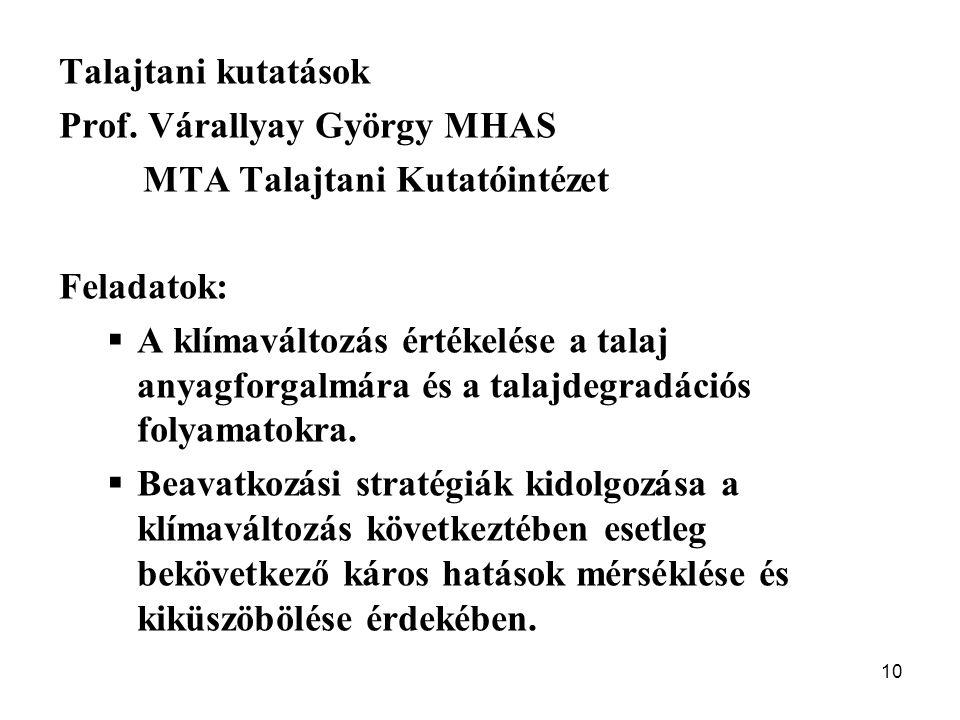 10 Talajtani kutatások Prof. Várallyay György MHAS MTA Talajtani Kutatóintézet Feladatok:  A klímaváltozás értékelése a talaj anyagforgalmára és a ta