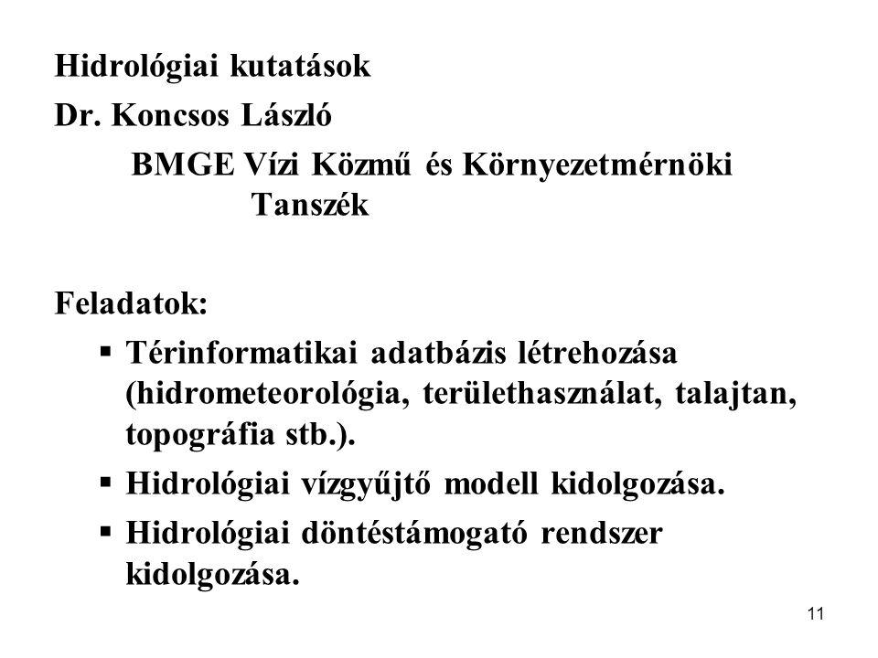 11 Hidrológiai kutatások Dr. Koncsos László BMGE Vízi Közmű és Környezetmérnöki Tanszék Feladatok:  Térinformatikai adatbázis létrehozása (hidrometeo
