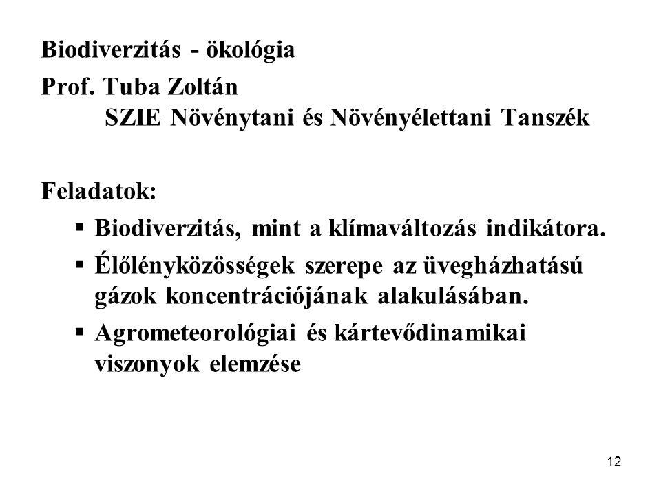 12 Biodiverzitás - ökológia Prof. Tuba Zoltán SZIE Növénytani és Növényélettani Tanszék Feladatok:  Biodiverzitás, mint a klímaváltozás indikátora. 
