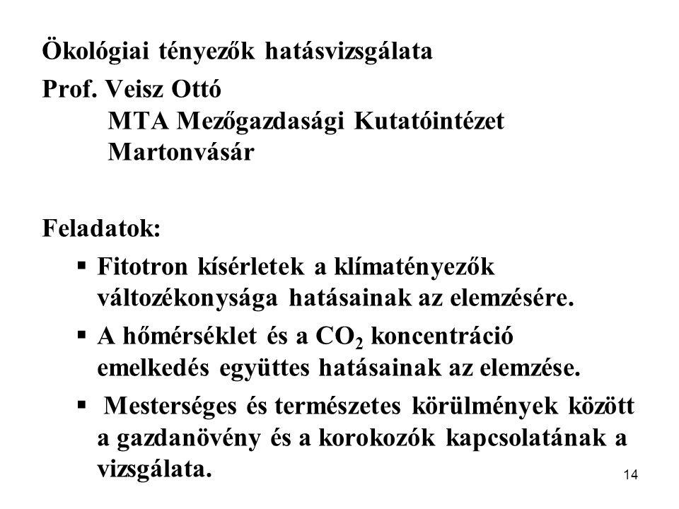 14 Ökológiai tényezők hatásvizsgálata Prof. Veisz Ottó MTA Mezőgazdasági Kutatóintézet Martonvásár Feladatok:  Fitotron kísérletek a klímatényezők vá