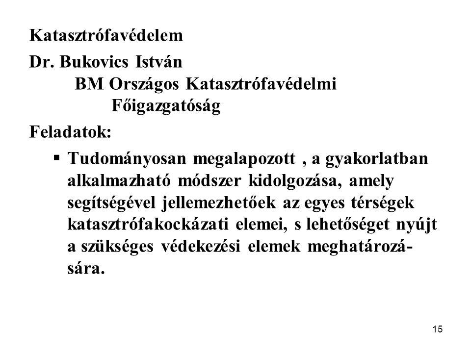 15 Katasztrófavédelem Dr. Bukovics István BM Országos Katasztrófavédelmi Főigazgatóság Feladatok:  Tudományosan megalapozott, a gyakorlatban alkalmaz