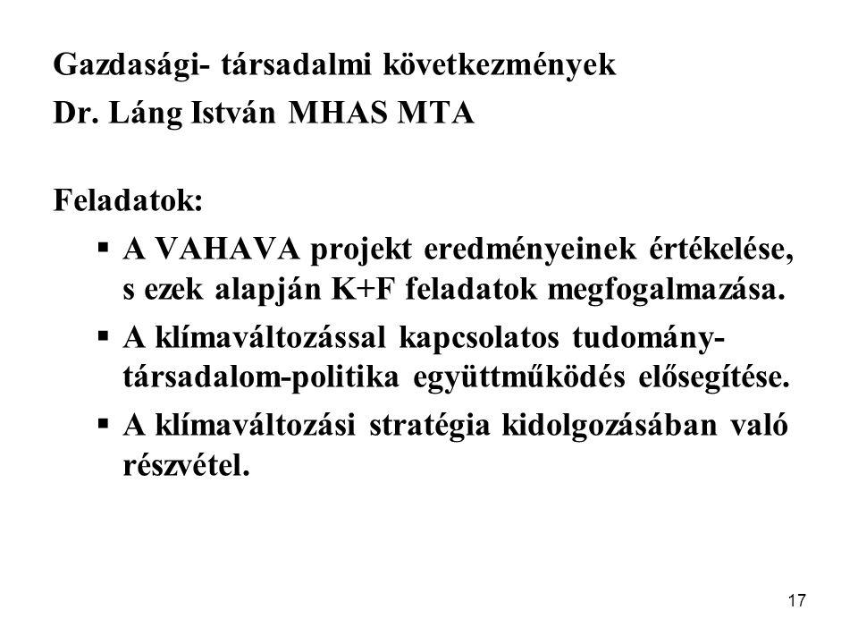 17 Gazdasági- társadalmi következmények Dr. Láng István MHAS MTA Feladatok:  A VAHAVA projekt eredményeinek értékelése, s ezek alapján K+F feladatok