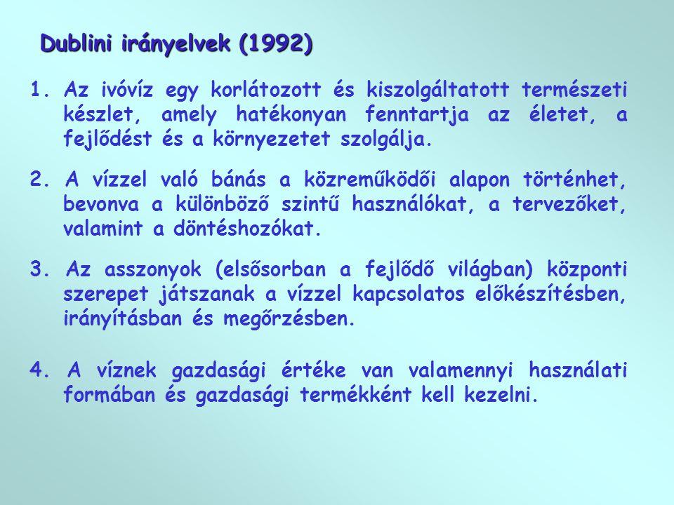 Dublini irányelvek (1992) 1.Az ivóvíz egy korlátozott és kiszolgáltatott természeti készlet, amely hatékonyan fenntartja az életet, a fejlődést és a környezetet szolgálja.