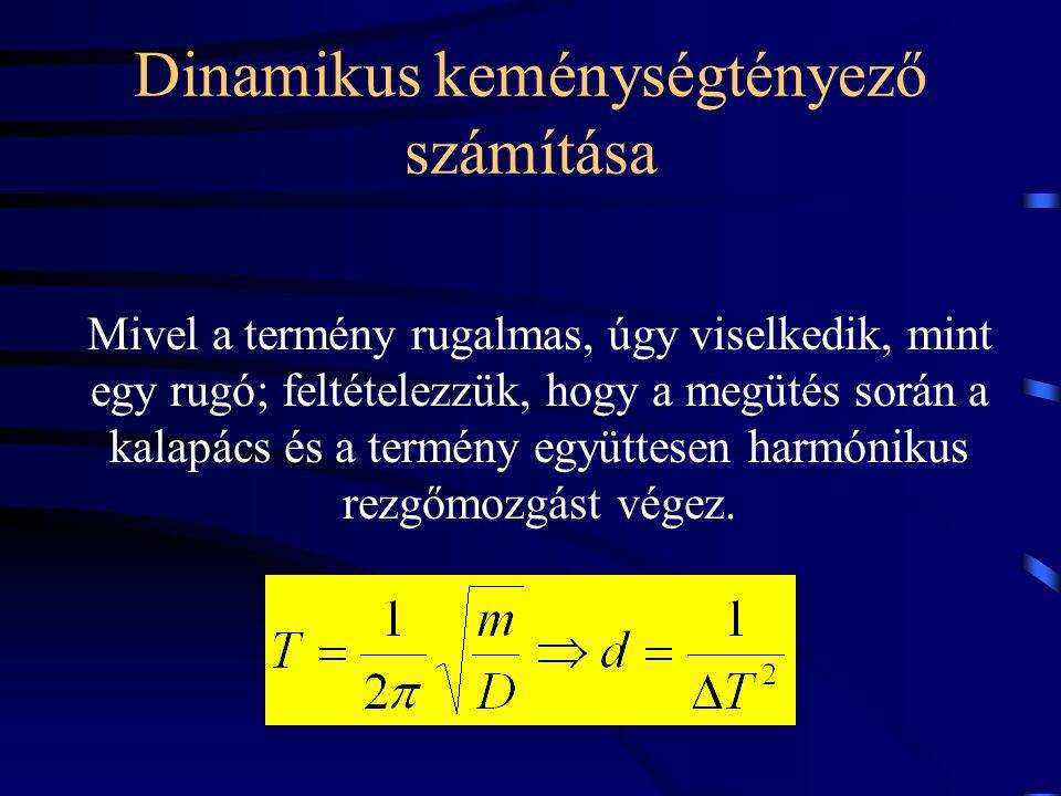 Dinamikus keménységtényező számítása Mivel a termény rugalmas, úgy viselkedik, mint egy rugó; feltételezzük, hogy a megütés során a kalapács és a term