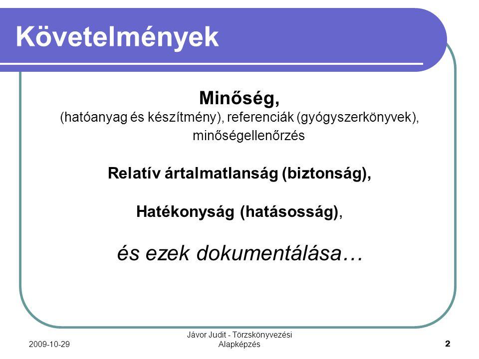 2009-10-29 Jávor Judit - Törzskönyvezési Alapképzés 2 Követelmények Minőség, (hatóanyag és készítmény), referenciák (gyógyszerkönyvek), minőségellenőr