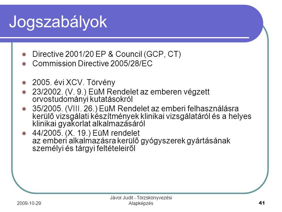 2009-10-29 Jávor Judit - Törzskönyvezési Alapképzés 41 Jogszabályok Directive 2001/20 EP & Council (GCP, CT) Commission Directive 2005/28/EC 2005. évi
