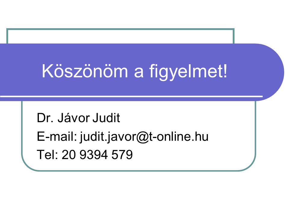 Köszönöm a figyelmet! Dr. Jávor Judit E-mail: judit.javor@t-online.hu Tel: 20 9394 579