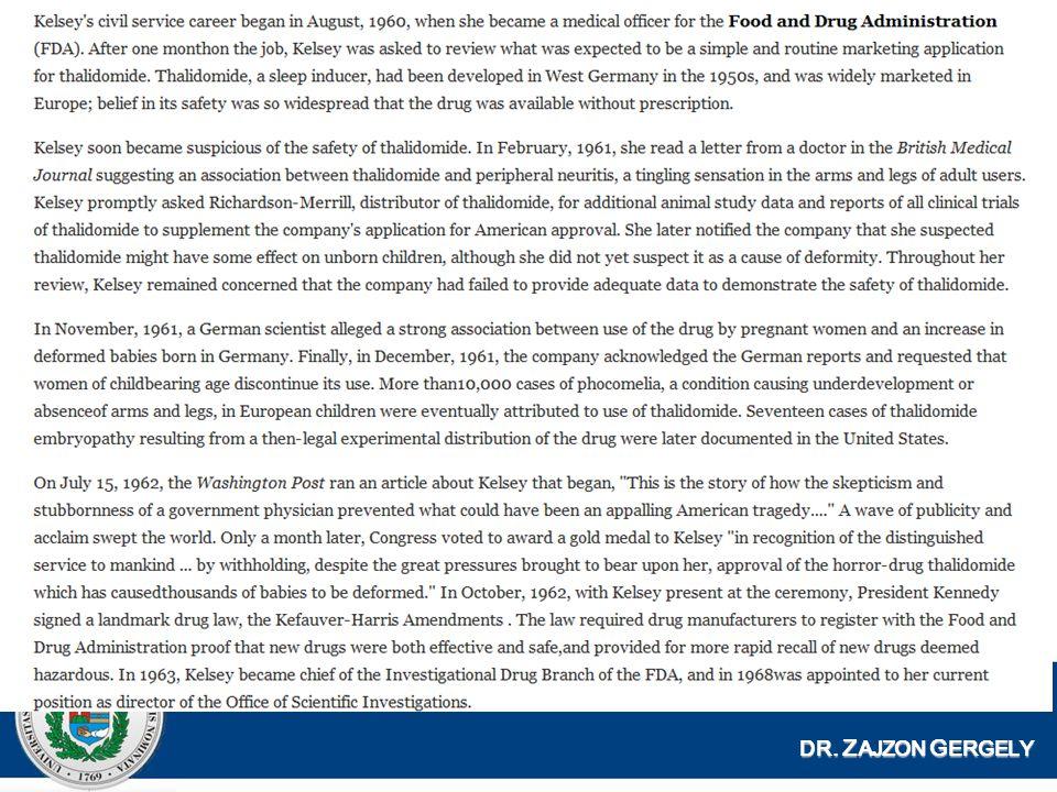 Thalidomid (Contergan) 1961-ben röviddel a gyógyszer vénykötelessé tétele után dr.