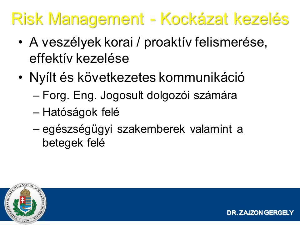 Risk Management - Kockázat kezelés A veszélyek korai / proaktív felismerése, effektív kezelése Nyílt és következetes kommunikáció –Forg.