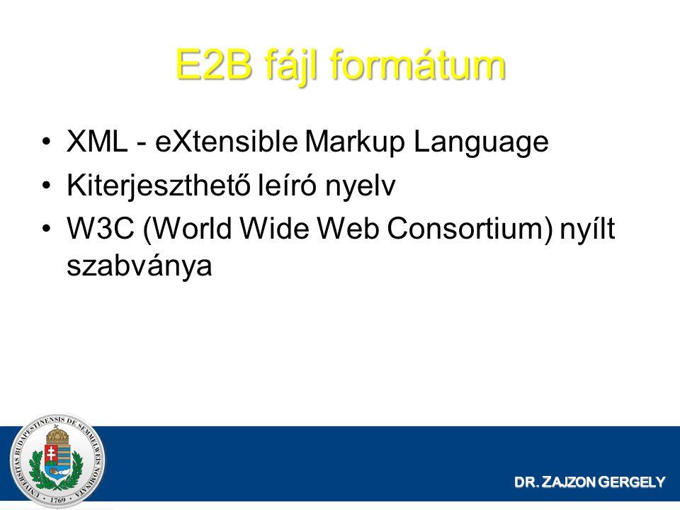 E2B fájl formátum XML - eXtensible Markup Language Kiterjeszthető leíró nyelv W3C (World Wide Web Consortium) nyílt szabványa DR.