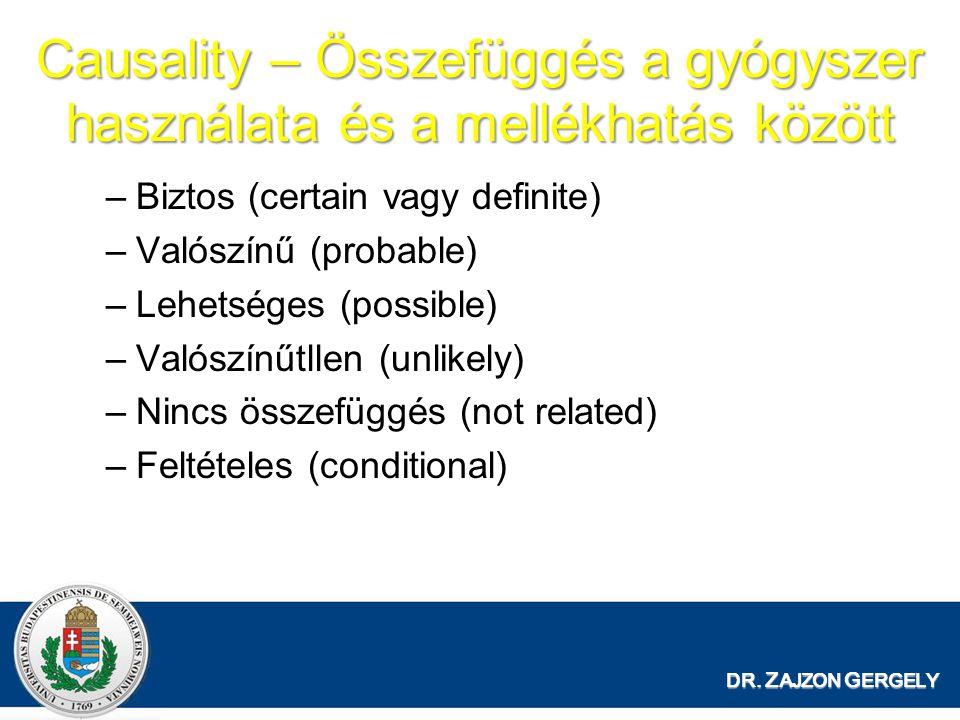 Causality – Összefüggés a gyógyszer használata és a mellékhatás között –Biztos (certain vagy definite) –Valószínű (probable) –Lehetséges (possible) –Valószínűtllen (unlikely) –Nincs összefüggés (not related) –Feltételes (conditional) DR.