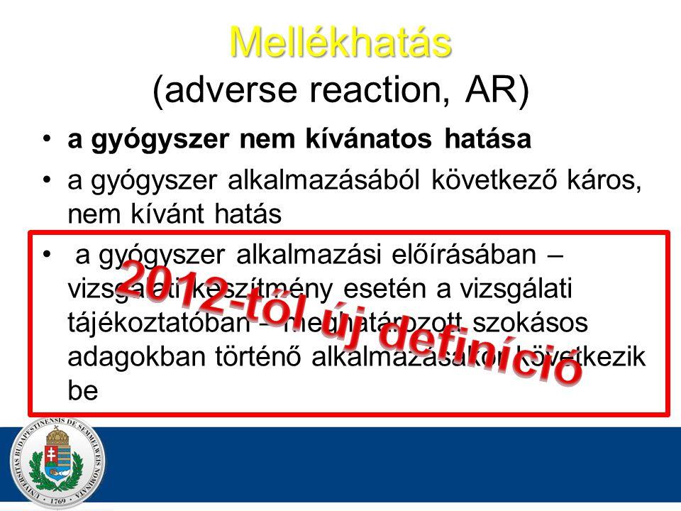 Mellékhatás Mellékhatás (adverse reaction, AR) a gyógyszer nem kívánatos hatása a gyógyszer alkalmazásából következő káros, nem kívánt hatás a gyógyszer alkalmazási előírásában – vizsgálati készítmény esetén a vizsgálati tájékoztatóban – meghatározott szokásos adagokban történő alkalmazásakor következik be