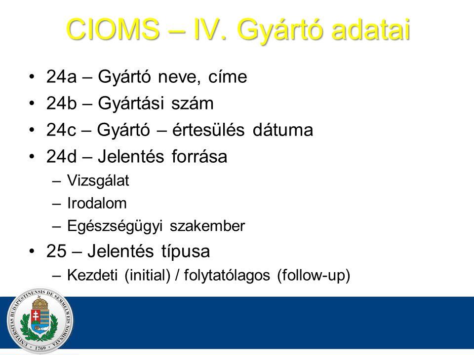 CIOMS – IV.