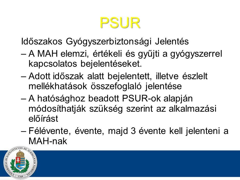 PSUR Időszakos Gyógyszerbiztonsági Jelentés –A MAH elemzi, értékeli és gyűjti a gyógyszerrel kapcsolatos bejelentéseket.