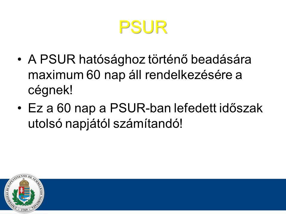 PSUR A PSUR hatósághoz történő beadására maximum 60 nap áll rendelkezésére a cégnek.