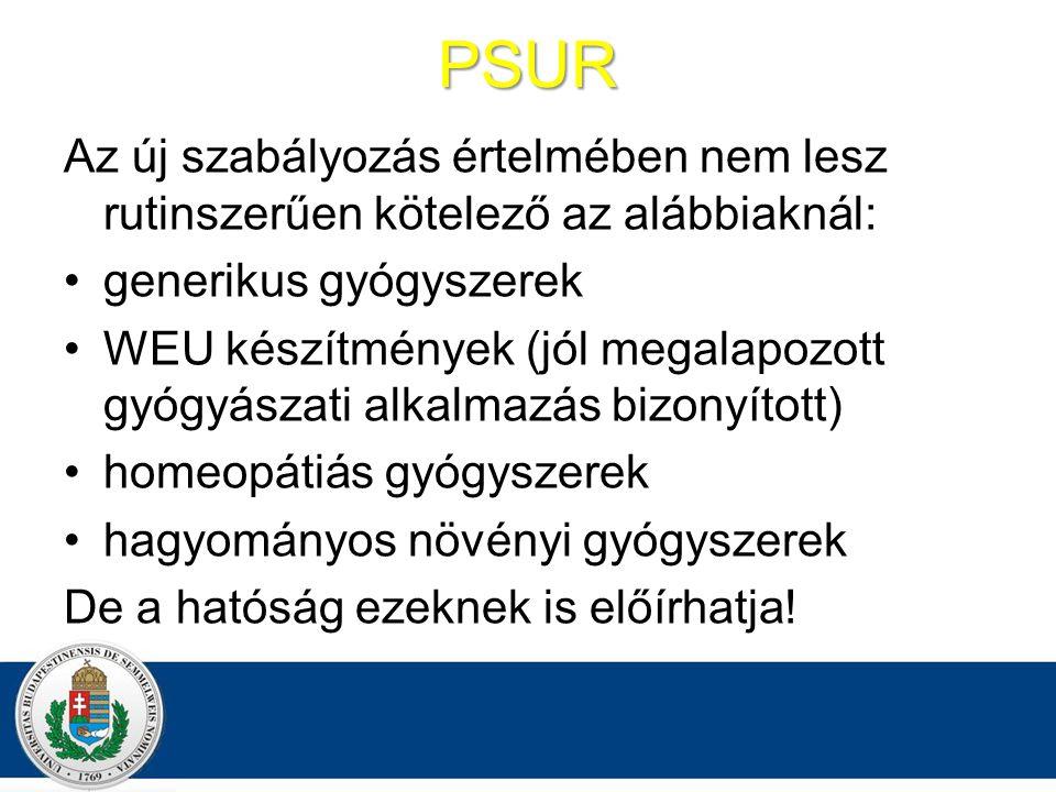 PSUR Az új szabályozás értelmében nem lesz rutinszerűen kötelező az alábbiaknál: generikus gyógyszerek WEU készítmények (jól megalapozott gyógyászati alkalmazás bizonyított) homeopátiás gyógyszerek hagyományos növényi gyógyszerek De a hatóság ezeknek is előírhatja!