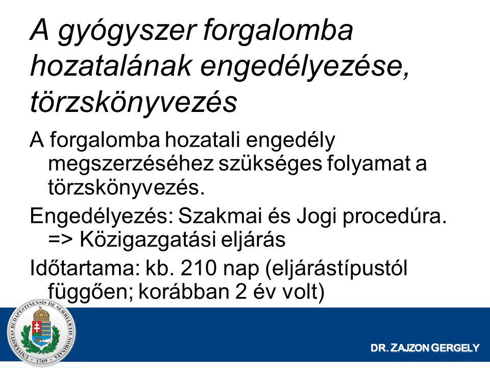 DR. Z AJZON G ERGELY A gyógyszer forgalomba hozatalának engedélyezése, törzskönyvezés A forgalomba hozatali engedély megszerzéséhez szükséges folyamat