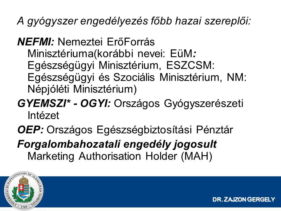 DR. Z AJZON G ERGELY A gyógyszer engedélyezés főbb hazai szereplői: NEFMI: Nemeztei ErőForrás Minisztériuma(korábbi nevei: EüM: Egészségügyi Minisztér