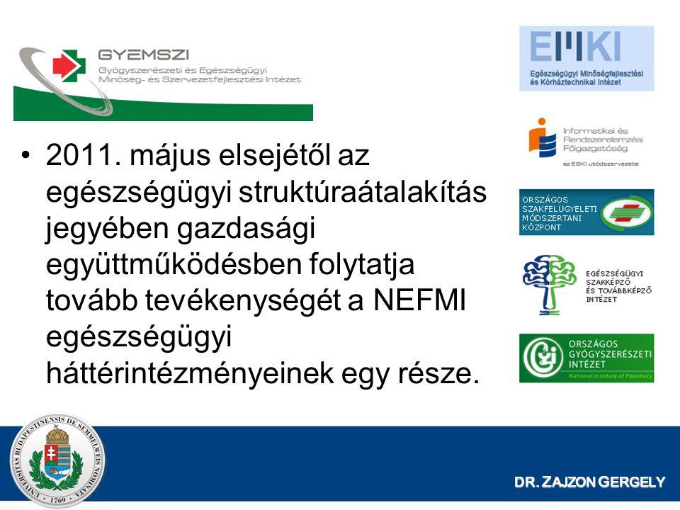 DR. Z AJZON G ERGELY 2011. május elsejétől az egészségügyi struktúraátalakítás jegyében gazdasági együttműködésben folytatja tovább tevékenységét a NE