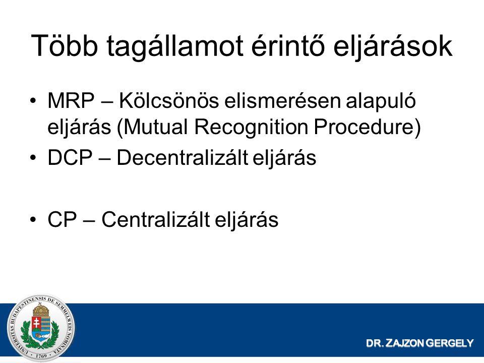 DR. Z AJZON G ERGELY Több tagállamot érintő eljárások MRP – Kölcsönös elismerésen alapuló eljárás (Mutual Recognition Procedure) DCP – Decentralizált