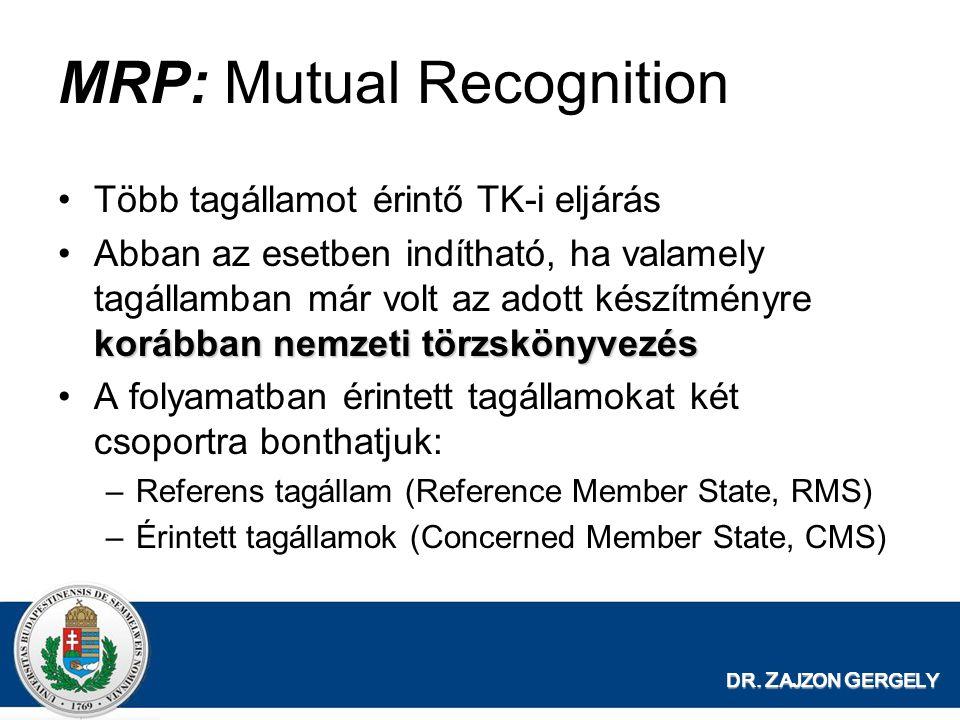 DR. Z AJZON G ERGELY MRP: Mutual Recognition Több tagállamot érintő TK-i eljárás korábban nemzeti törzskönyvezésAbban az esetben indítható, ha valamel