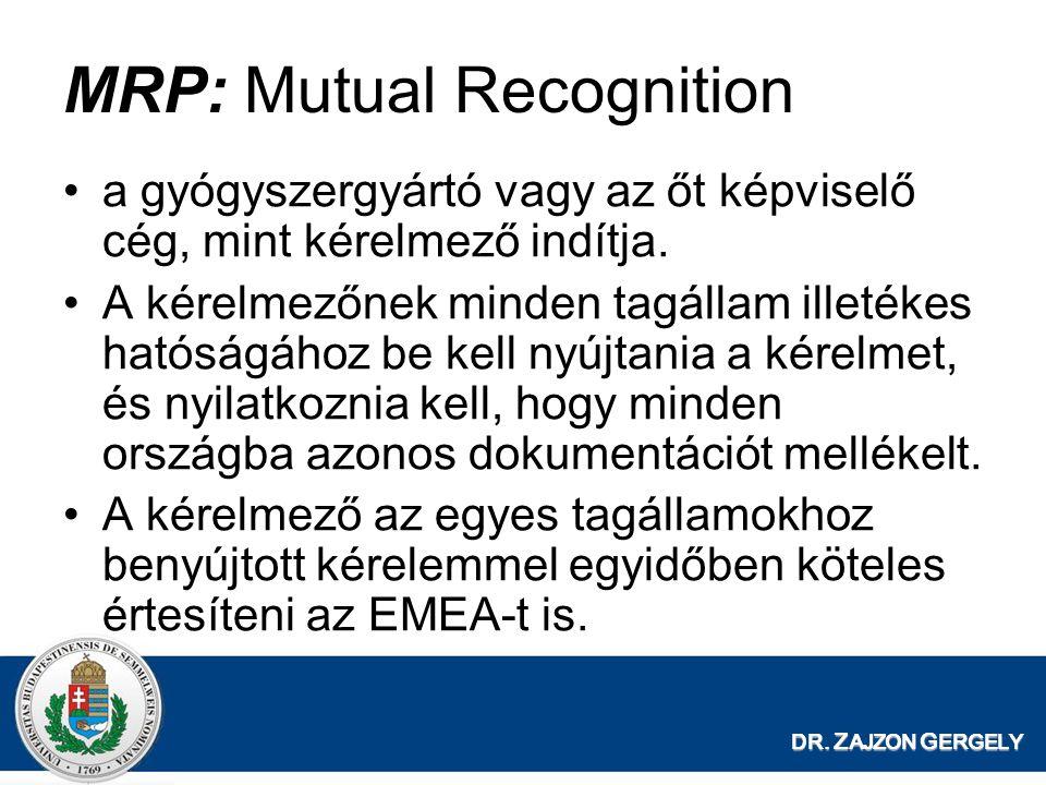DR. Z AJZON G ERGELY MRP: Mutual Recognition a gyógyszergyártó vagy az őt képviselő cég, mint kérelmező indítja. A kérelmezőnek minden tagállam illeté