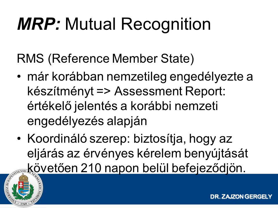 DR. Z AJZON G ERGELY MRP: Mutual Recognition RMS (Reference Member State) már korábban nemzetileg engedélyezte a készítményt => Assessment Report: ért