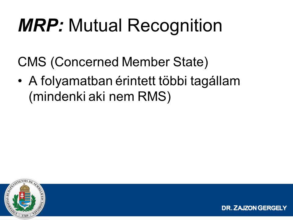 DR. Z AJZON G ERGELY MRP: Mutual Recognition CMS (Concerned Member State) A folyamatban érintett többi tagállam (mindenki aki nem RMS)
