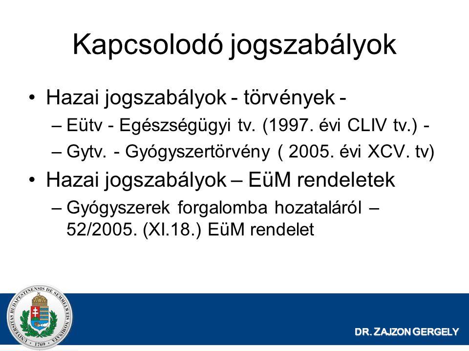 DR. Z AJZON G ERGELY Kapcsolodó jogszabályok Hazai jogszabályok - törvények - –Eütv - Egészségügyi tv. (1997. évi CLIV tv.) - –Gytv. - Gyógyszertörvén