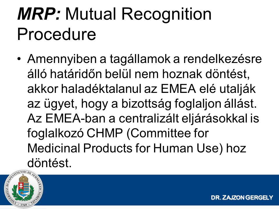 DR. Z AJZON G ERGELY MRP: Mutual Recognition Procedure Amennyiben a tagállamok a rendelkezésre álló határidőn belül nem hoznak döntést, akkor haladékt
