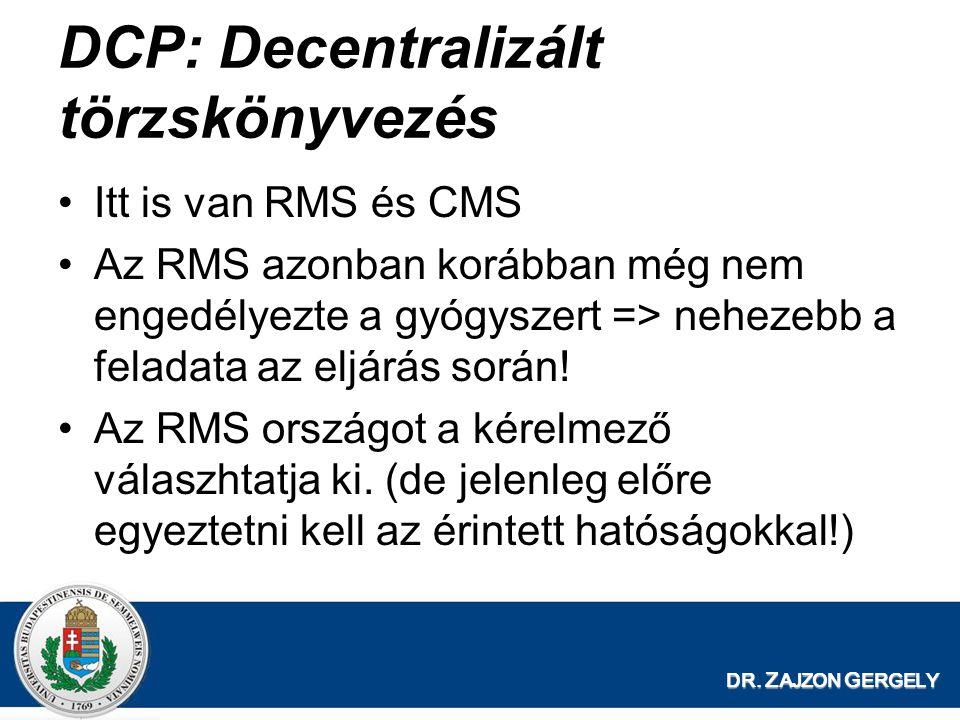 DR. Z AJZON G ERGELY DCP: Decentralizált törzskönyvezés Itt is van RMS és CMS Az RMS azonban korábban még nem engedélyezte a gyógyszert => nehezebb a