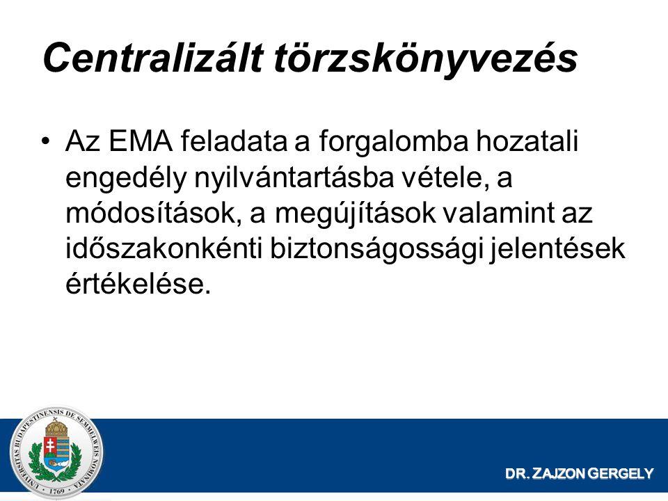 DR. Z AJZON G ERGELY Centralizált törzskönyvezés Az EMA feladata a forgalomba hozatali engedély nyilvántartásba vétele, a módosítások, a megújítások v