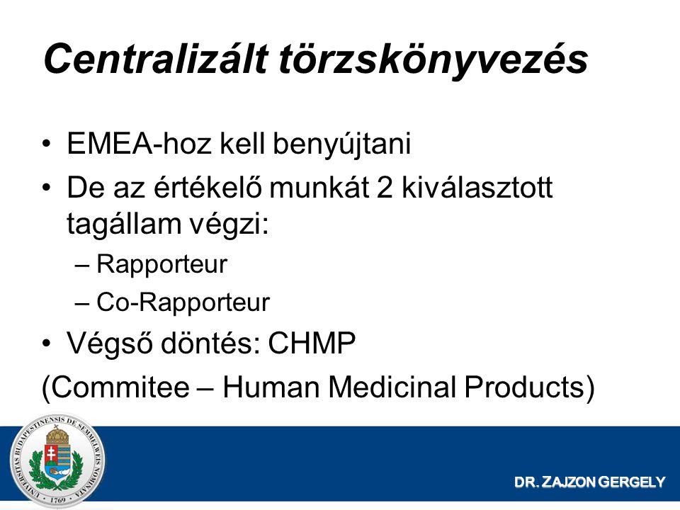 DR. Z AJZON G ERGELY Centralizált törzskönyvezés EMEA-hoz kell benyújtani De az értékelő munkát 2 kiválasztott tagállam végzi: –Rapporteur –Co-Rapport