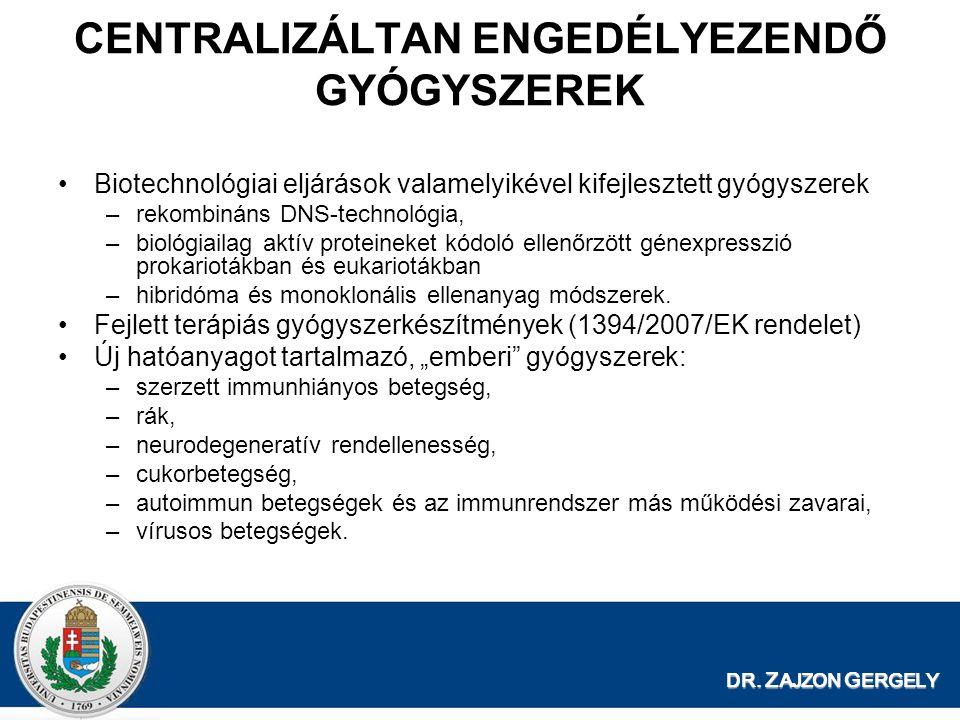 DR. Z AJZON G ERGELY CENTRALIZÁLTAN ENGEDÉLYEZENDŐ GYÓGYSZEREK Biotechnológiai eljárások valamelyikével kifejlesztett gyógyszerek –rekombináns DNS-tec