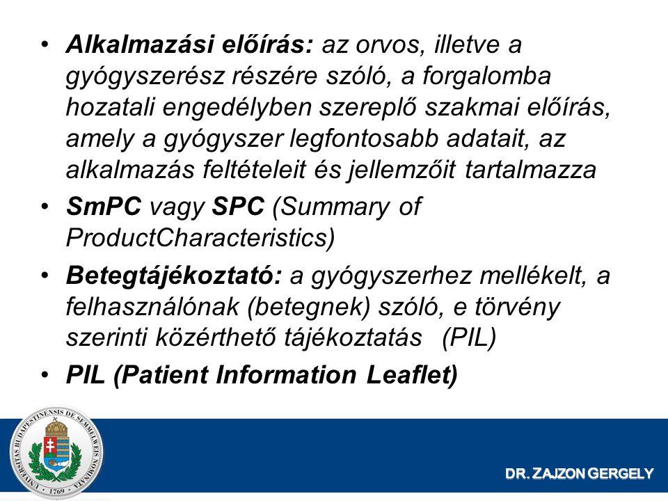 DR. Z AJZON G ERGELY Alkalmazási előírás: az orvos, illetve a gyógyszerész részére szóló, a forgalomba hozatali engedélyben szereplő szakmai előírás,