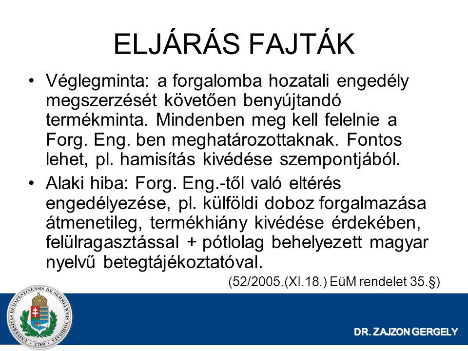 DR. Z AJZON G ERGELY ELJÁRÁS FAJTÁK Véglegminta: a forgalomba hozatali engedély megszerzését követően benyújtandó termékminta. Mindenben meg kell fele
