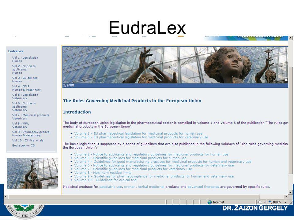 DR. Z AJZON G ERGELY EudraLex