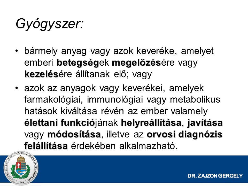 DR. Z AJZON G ERGELY Gyógyszer: betegségmegelőzés kezelésbármely anyag vagy azok keveréke, amelyet emberi betegségek megelőzésére vagy kezelésére állí