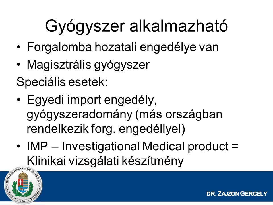 DR. Z AJZON G ERGELY Gyógyszer alkalmazható Forgalomba hozatali engedélye van Magisztrális gyógyszer Speciális esetek: Egyedi import engedély, gyógysz