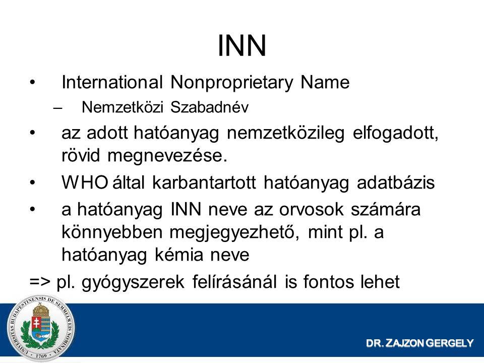 DR. Z AJZON G ERGELY INN International Nonproprietary Name –Nemzetközi Szabadnév az adott hatóanyag nemzetközileg elfogadott, rövid megnevezése. WHO á