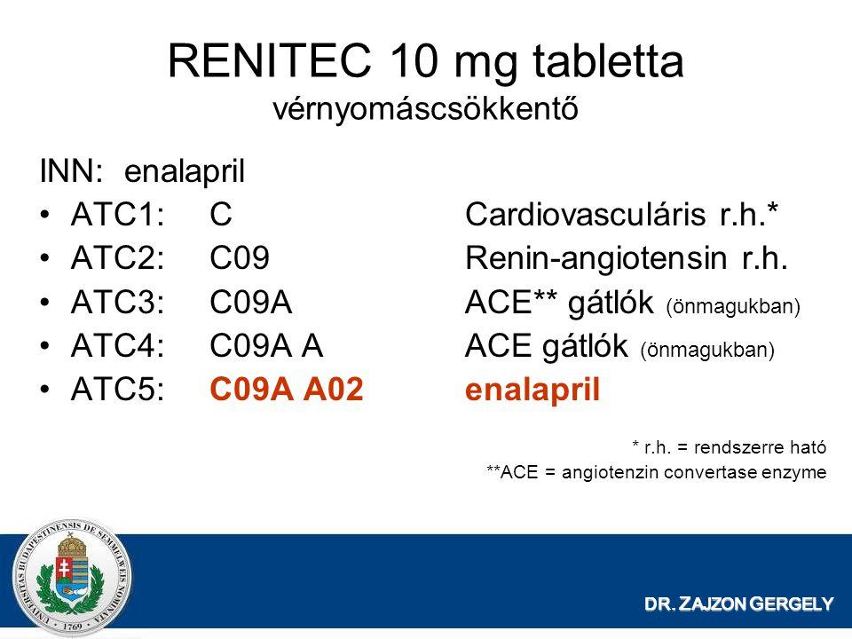 DR. Z AJZON G ERGELY RENITEC 10 mg tabletta vérnyomáscsökkentő INN:enalapril ATC1:CCardiovasculáris r.h.* ATC2:C09Renin-angiotensin r.h. ATC3:C09AACE*