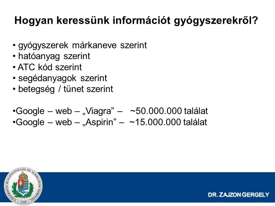 DR. Z AJZON G ERGELY Hogyan keressünk információt gyógyszerekről? gyógyszerek márkaneve szerint hatóanyag szerint ATC kód szerint segédanyagok szerint