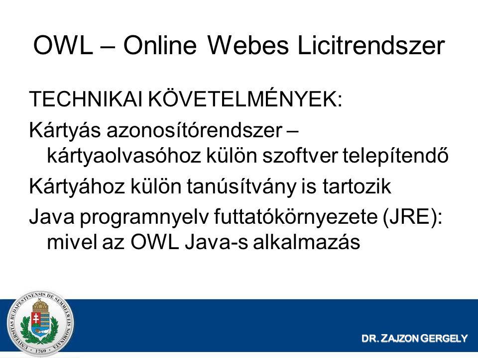 DR. Z AJZON G ERGELY OWL – Online Webes Licitrendszer TECHNIKAI KÖVETELMÉNYEK: Kártyás azonosítórendszer – kártyaolvasóhoz külön szoftver telepítendő