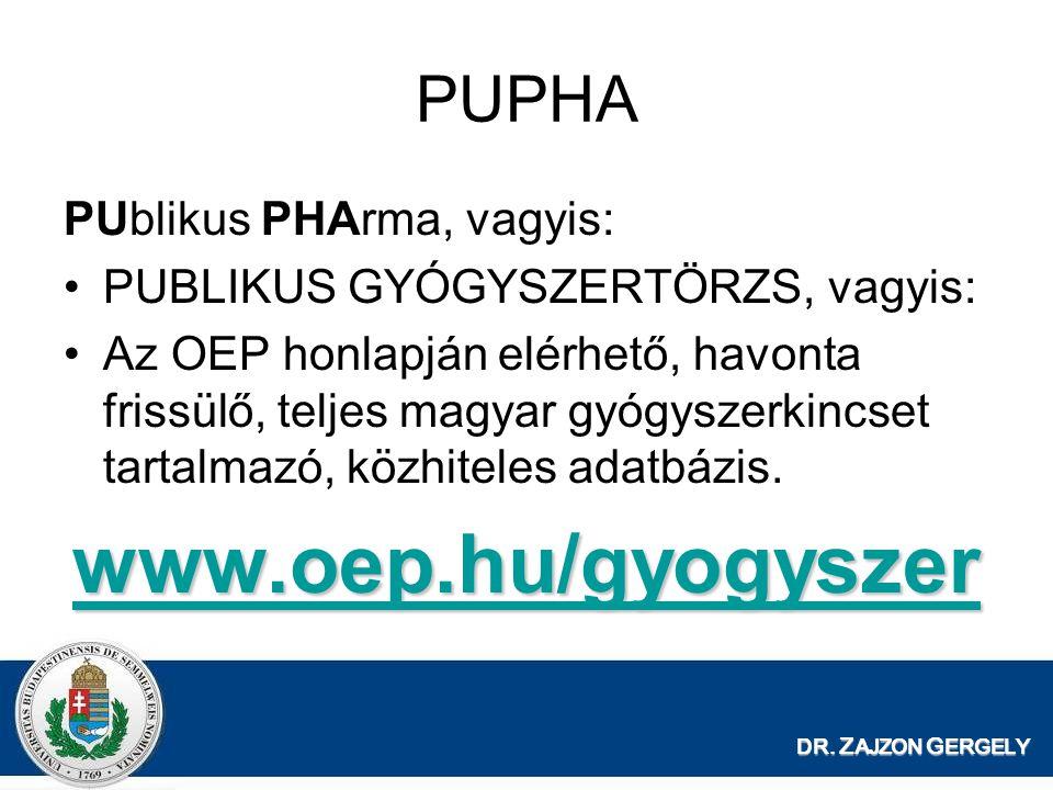 DR. Z AJZON G ERGELY PUPHA PUblikus PHArma, vagyis: PUBLIKUS GYÓGYSZERTÖRZS, vagyis: Az OEP honlapján elérhető, havonta frissülő, teljes magyar gyógys