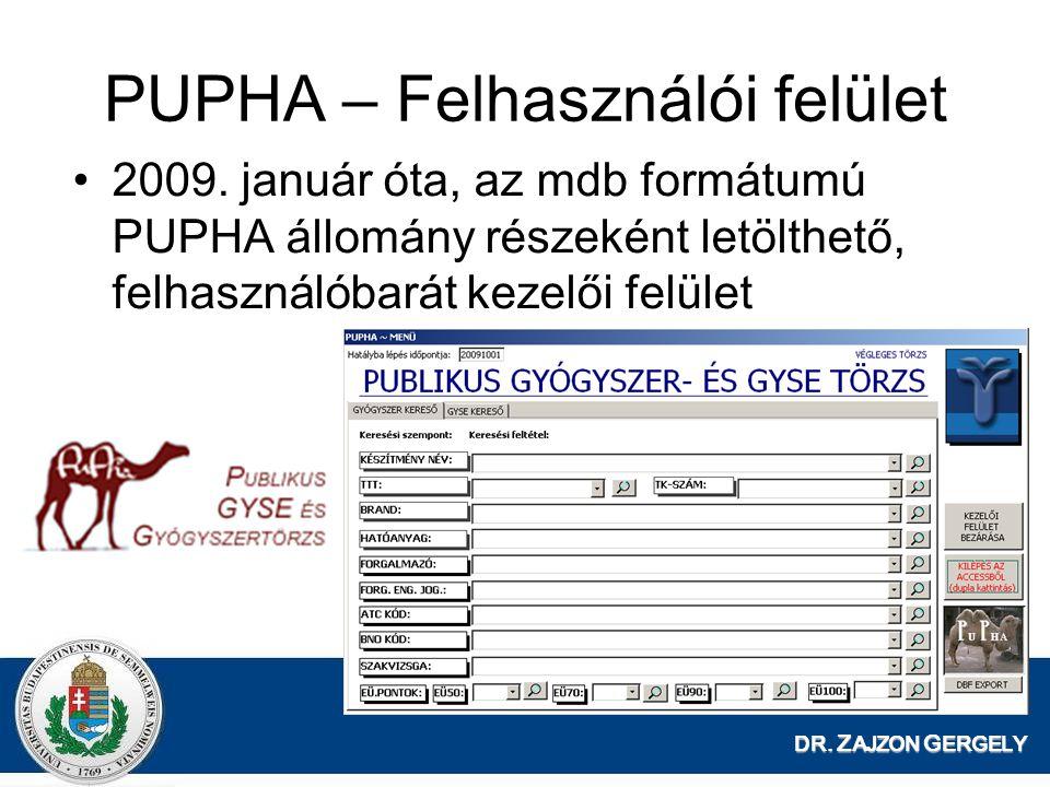 DR. Z AJZON G ERGELY PUPHA – Felhasználói felület 2009. január óta, az mdb formátumú PUPHA állomány részeként letölthető, felhasználóbarát kezelői fel